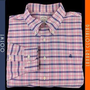 BROOKS BROTHERS XL 18 36 Pink Blue Plaid Shirt